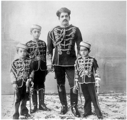 Maharaja Sayajirao with his sons